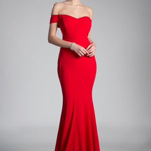 Red Strapless Evenng Long Dress